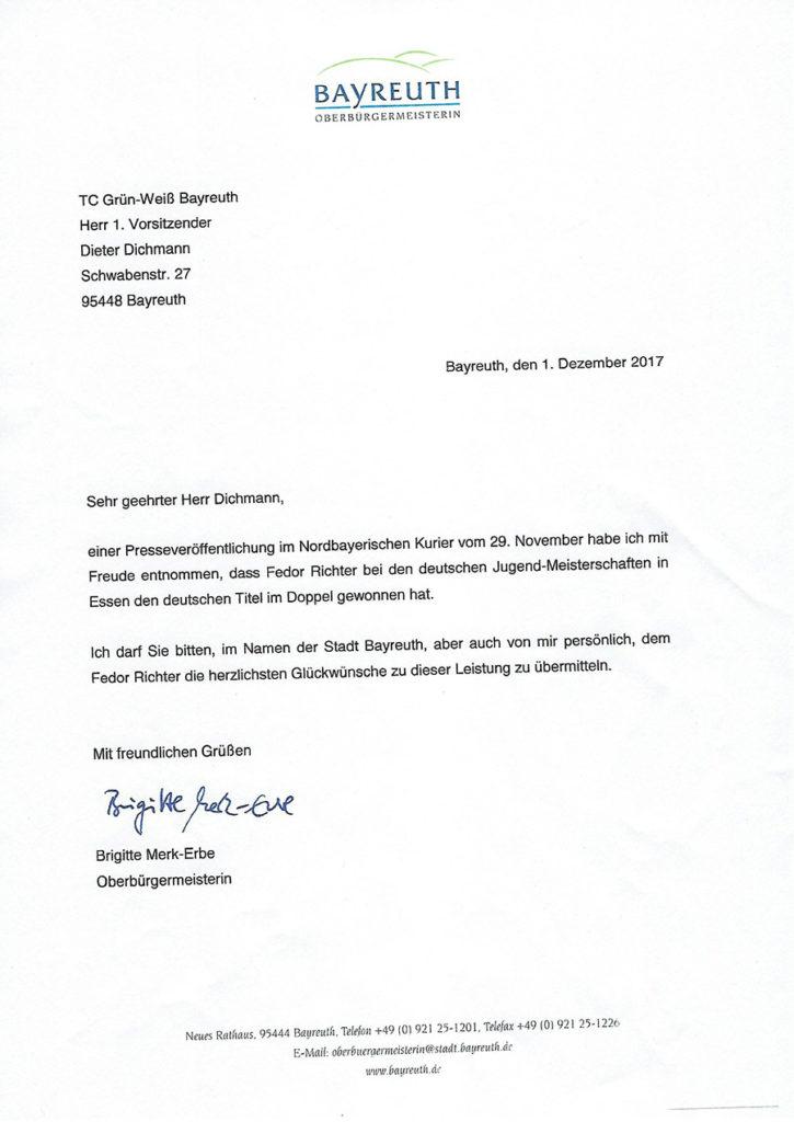 Glückwünsche OB an Fedor